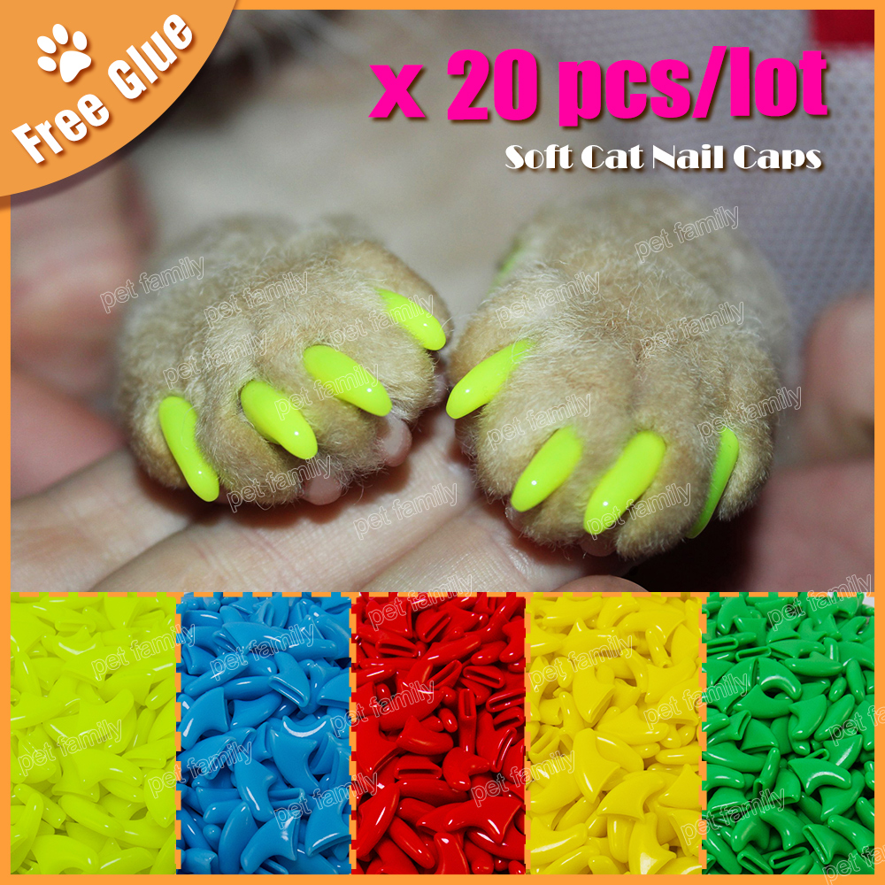 Hot 20PCS Dog Cat Nail Covers Pet Claw Paws Caps Adhesive Glue ...
