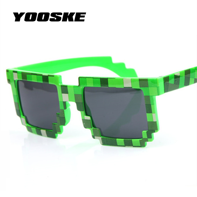 YOOSKE Vintage Glasses 8 Bit Pixel Women Men Sunglasses Female Male Mosaic Sun Glasses Kids Boys Girls Child