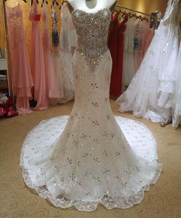 Real Photos Bling Crystal Beadeds Luxury Wedding Dress Mermaid Long