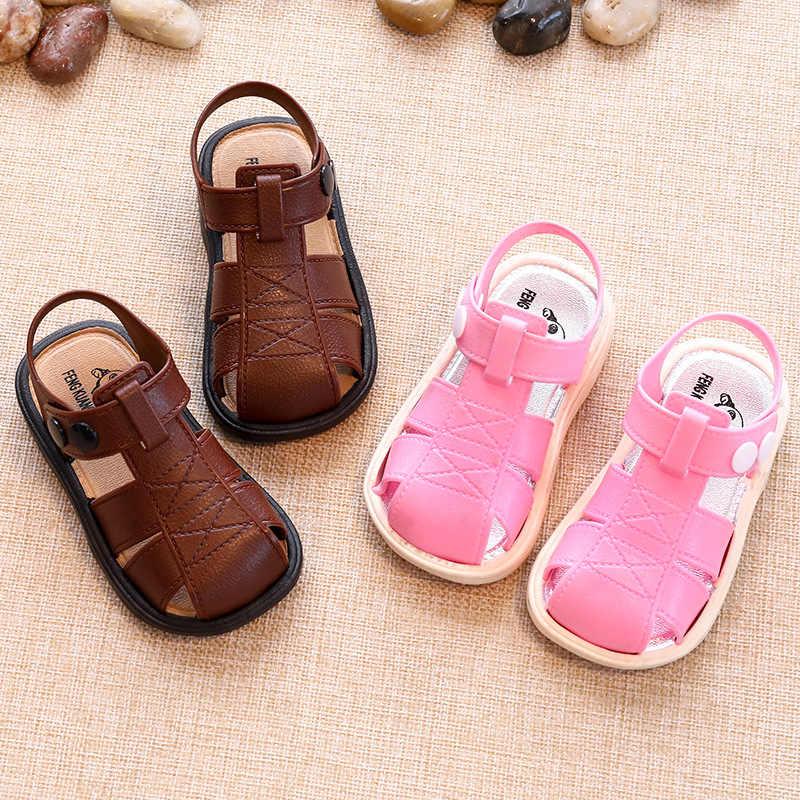 ילד סנדלי קיץ 2019 חדש ילד נשי כובע הבוהן מכסה סנדלי נעלי החוף לילדים החלקה תינוק בנות בני סנדלי