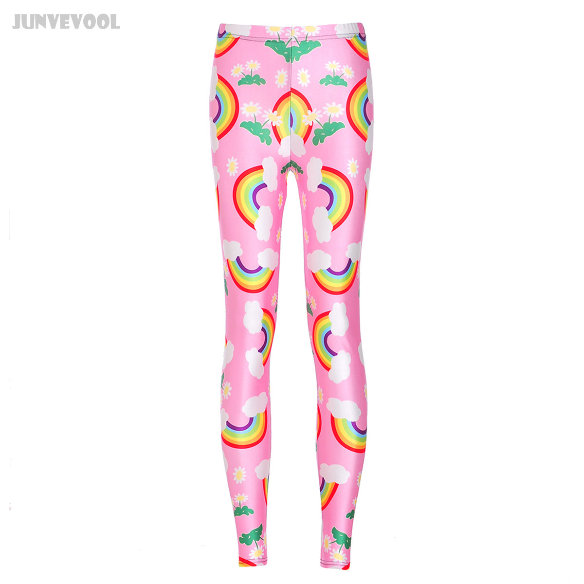 Work Out Leggings Pink Rainbow Print Straight Slim Fit Pants Bikers Comfort Fitness Clothing Stretch Pants Trousers Skinny Pants