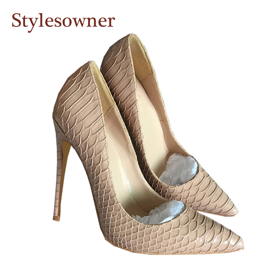 Stylesowner Woman High Heel Shoe Thin Heel Black Nude Snake Skin High Quality Shoes Popular Spring Pumps Sexy Big Size Stilettos