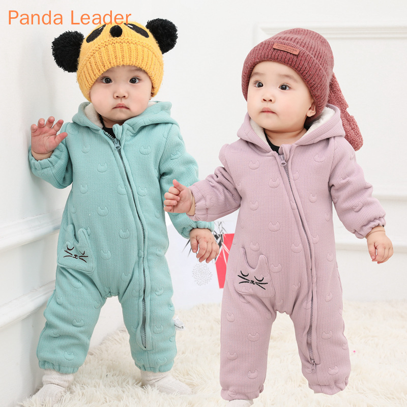 Baby Girls Clothes Winter Baby   Rompers   Cartoon Baby Jackets Hooded Fleece Thicken Overalls for Children Baby Jumpsuit Costume