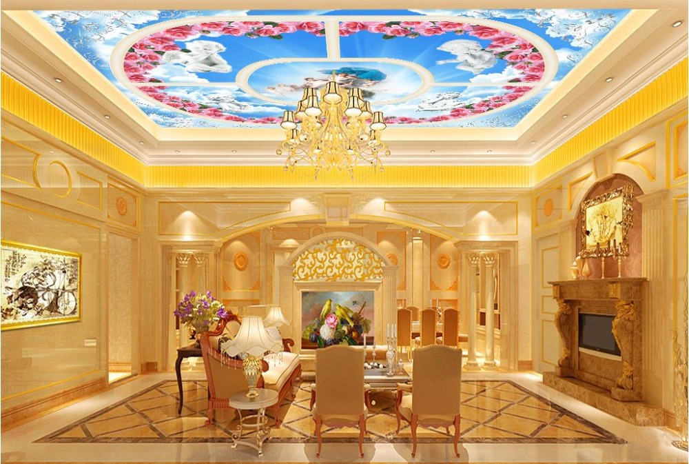Custom European 3d Mural Wallpaper Ceiling Murals Hotel 3d Mural garden Living room 3d Wallpaper Ceiling custom 3d stereo ceiling mural wallpaper beautiful starry sky landscape fresco hotel living room ceiling wallpaper home decor 3d