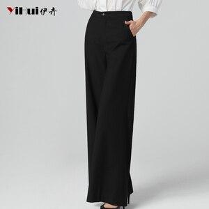Image 3 - Newest Office Ladies High Waist Full Length Straight Pants Women Trousers Pocket Zipper Fly Plus Size 4XL Black Soft Flat Pants