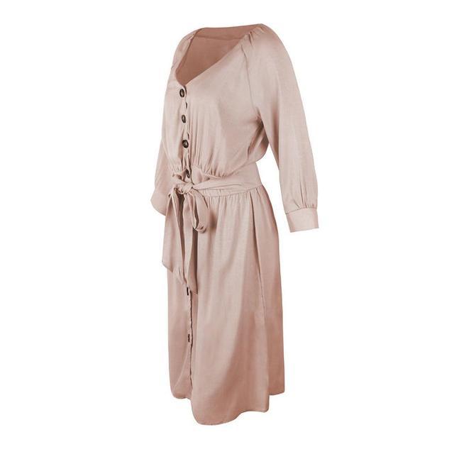 MISS M 2018 Autumn Women Fashion Stand 3/4 Sleeves Dress Elegant Loose Belt Casual Shirt Dresses Ladies Plaid Vestidos Pink