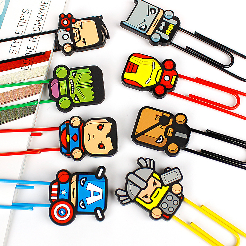 1 PC New Cartoon Hero Bookmarks Kawaii Paper Clip Super Book Holder Stationery Office School Supplies