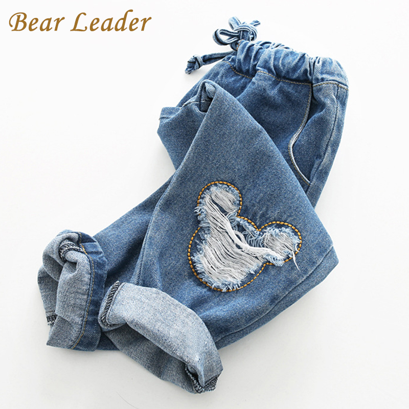 Bear Leader Boys Jeans 2016 Winter girls Jeans Kids Pants Cartoon Pattern Design Children's Denim Trousers Kids Dark Blue Pants