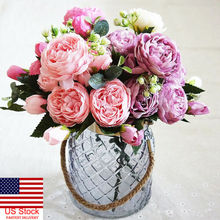 1Bouquet Artificial Fake Peony SilkFlower Bridal Hydrangea Wedding Party Décor Beautiful Colorful Rose Flowers Decoration