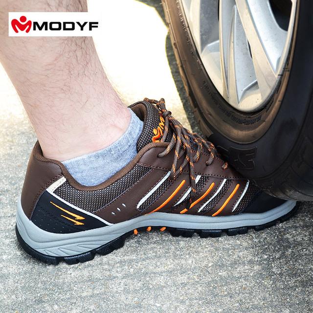 Envío libre de Los Hombres de trabajo puntera de acero zapatos de seguridad reflectante ocasionales respirables senderismo botas calzado de protección a prueba de pinchazos