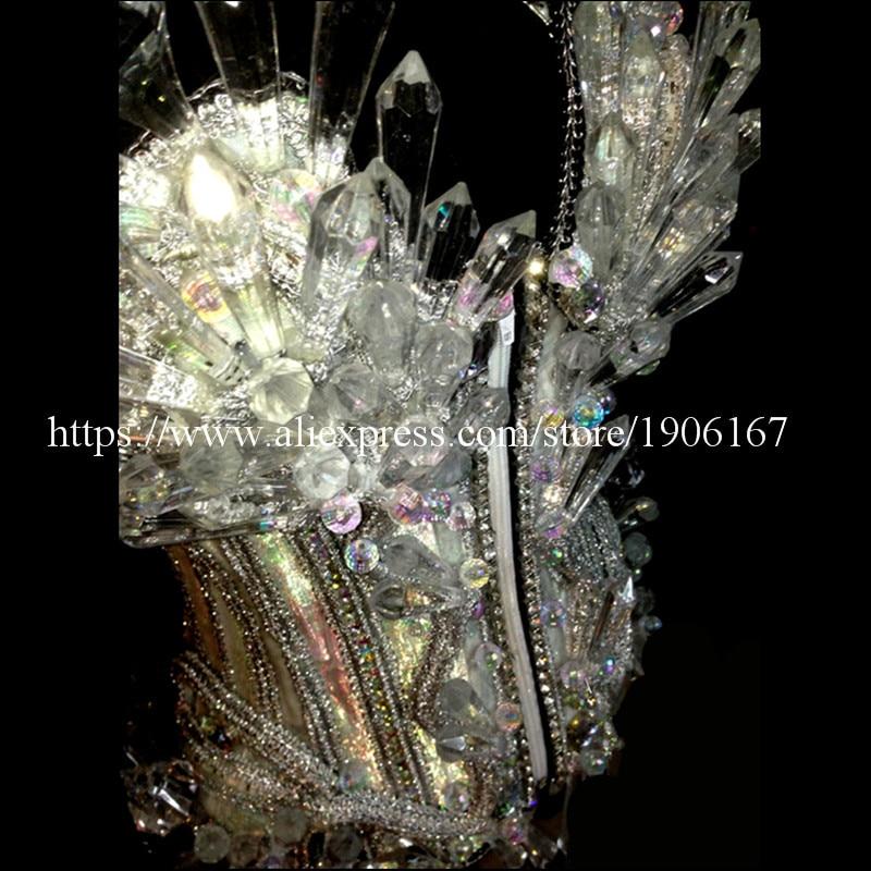 Rəngarəng Kristal Ledli Parlaq Qadınlar Kostyumu Seksual Led - Şənlik aksesuarları - Fotoqrafiya 6