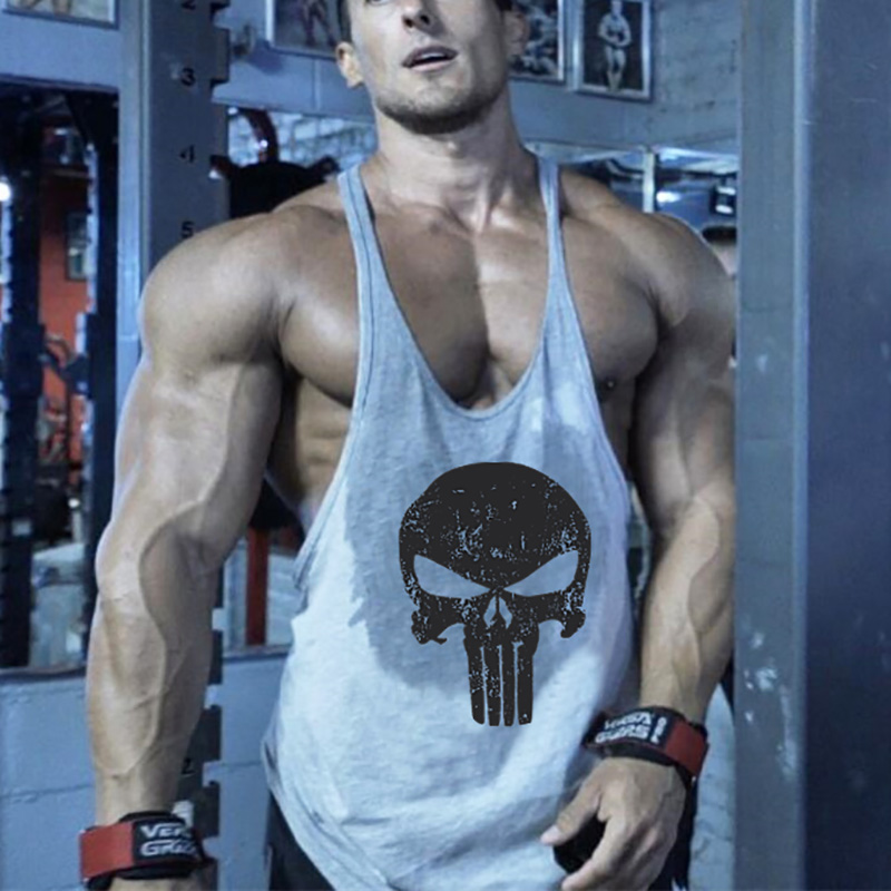 Punisher Fitness Clothing   Tank     Top   Men Gyms Vest Canotta Bodybuilding Stringer Singlet Muscle Sleeveless Shirt Skull   Tanks