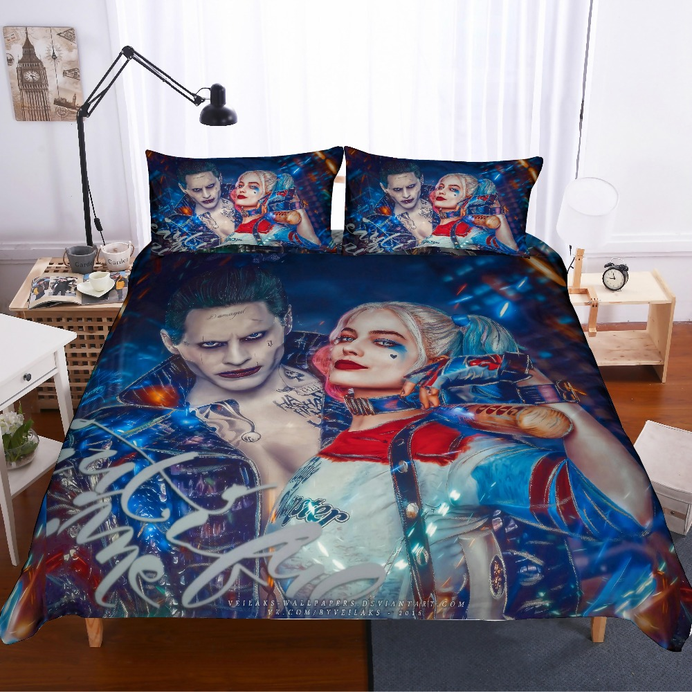 Suicide Squad 3D Bedding Set Harley Quinn Comforter Bedding Sets Duvet Cover Clown Killer Super Hero Bed Linen Bedclothes