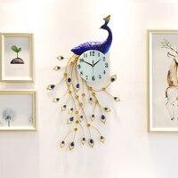 Super Large Stereo Peacock Clock Creative Decoration European Style Living Room Silent Quartz Metal Wall Clock