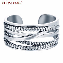 Kinitial Retro Cross Ring For Women Wedding Engagement Rings Toe Ring Fashion Twisted Cuban Chain Fish Leaf Ring Bague Femme(China)
