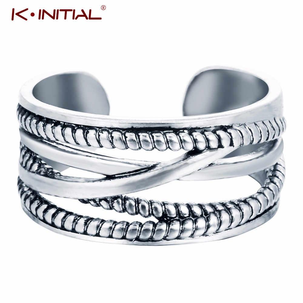 Kinitial Retro pierścionek krzyż dla kobiet obrączki ślubne pierścień na palec u stopy moda Twisted kubański łańcuch ryby pierścionek w kształcie liści Bague Femme