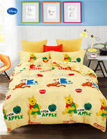 Cute Winnie the Pooh Disney Comforter Bedding Sets Baby Bedroom 600TC Cotton Bed Covers Single Twin Full Queen Size Yellow Color