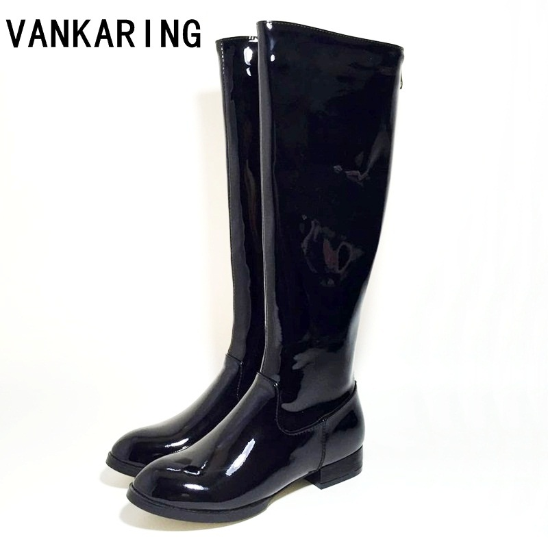 VANKARING brand patent leather knee high boots for woman platform rain boots low heel all matched riding winter snow boots womenVANKARING brand patent leather knee high boots for woman platform rain boots low heel all matched riding winter snow boots women