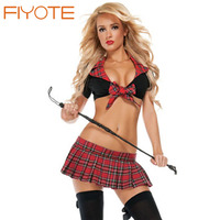 Hotapei New 2016 Fashion Women Sexy Cosplay Seductive School Girl Red Costume LC8672 Fancy Erotic Lingerie