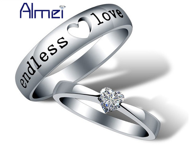Couple Rings Silver Love Anillos Anillos Zircon Wedding Party Commitment Ring Fashion Anel Masculino Engagement Jewelry J205