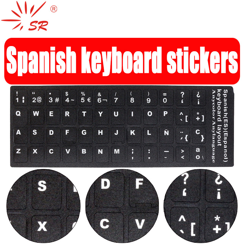 SR Standard Spanish Language Keyboard Stickers Protective Film Layout With Button Letters Alphabet For Computer Keyboard