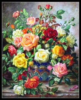 Needlework for embroidery DIY DMC - Counted Cross Stitch Kits 14 ct Oil painting - Hybrid Tea Roses