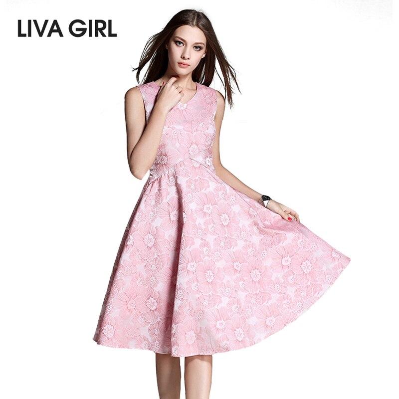 Buy Cheap LIVA GIRL Women'S Dress Casual Elegant Pink Blue Sleeveless A-line Dresses 2017 New Summer Dress Prints V-neck Plus size