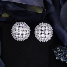Women Round Ball Shape Full CZ Hollow Stud Clip On Earrings For Bridal Engagement Earrings Jewelry(China)