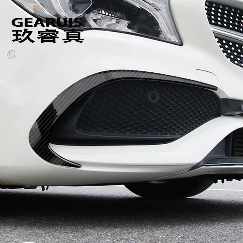 Car Styling Carbon Fiber Rear Front Bumper Spoiler Air Knife Covers Stickers For Mercedes Benz CLA Class C117 Auto Accessories