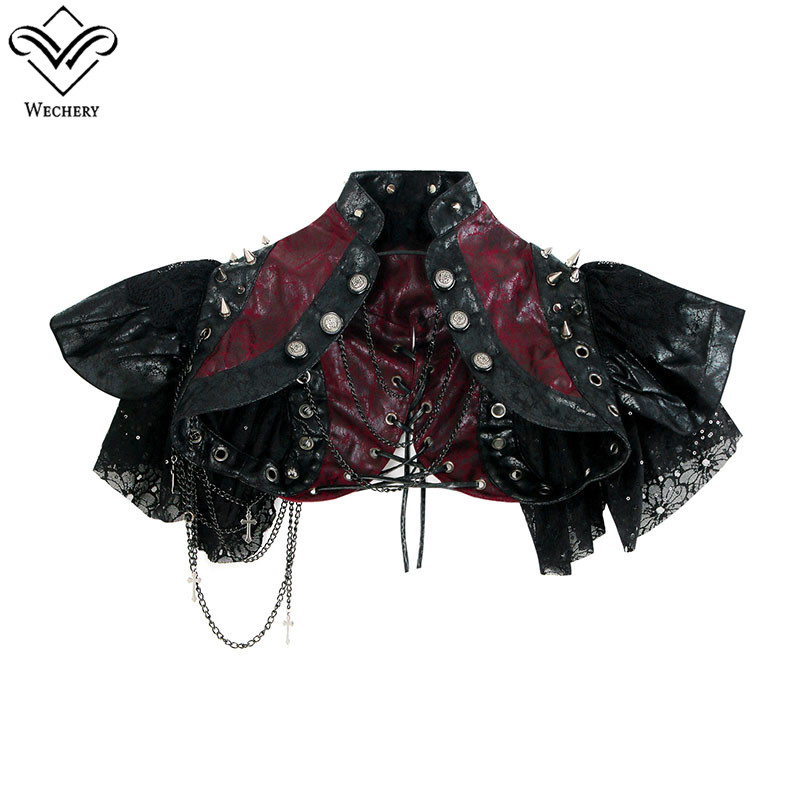 Wechery Short Retro Crop Tops Women's Steampunk Lace Up   Bustier   with Chains Buttons Sexy Lace   Corset   Leather Cut Out Shapewear