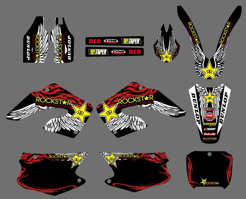 0558  Star Black  NEW STYLE TEAM  DECALS STICKERS GraphicS For Honda CR125 CR250 2000 2001 CR 125 250