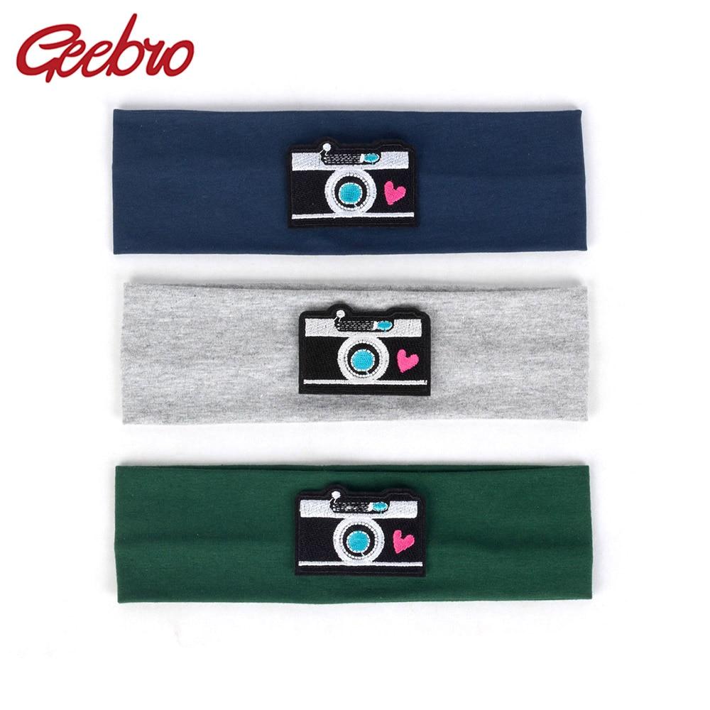 Geebro Baby Boys Girls camera Headbands Child Kids Soft Solid Cotton Elastic Headwear 2019 Fashion Hair Band Hair Accessories