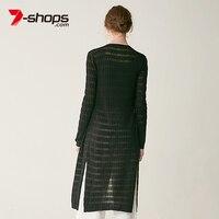 7-Shops AB0054ストライプ着物長袖枝毛女性ニットロングカーディガンカジュアルセーター女