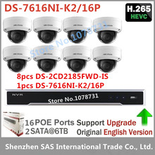Hikvision Video Surveillance DS-7616NI-K2/16P Embedded Plug & Play NVR 4K H.265+ 8pcs Hikvision DS-2CD2185FWD-IS H.265 IP Camera