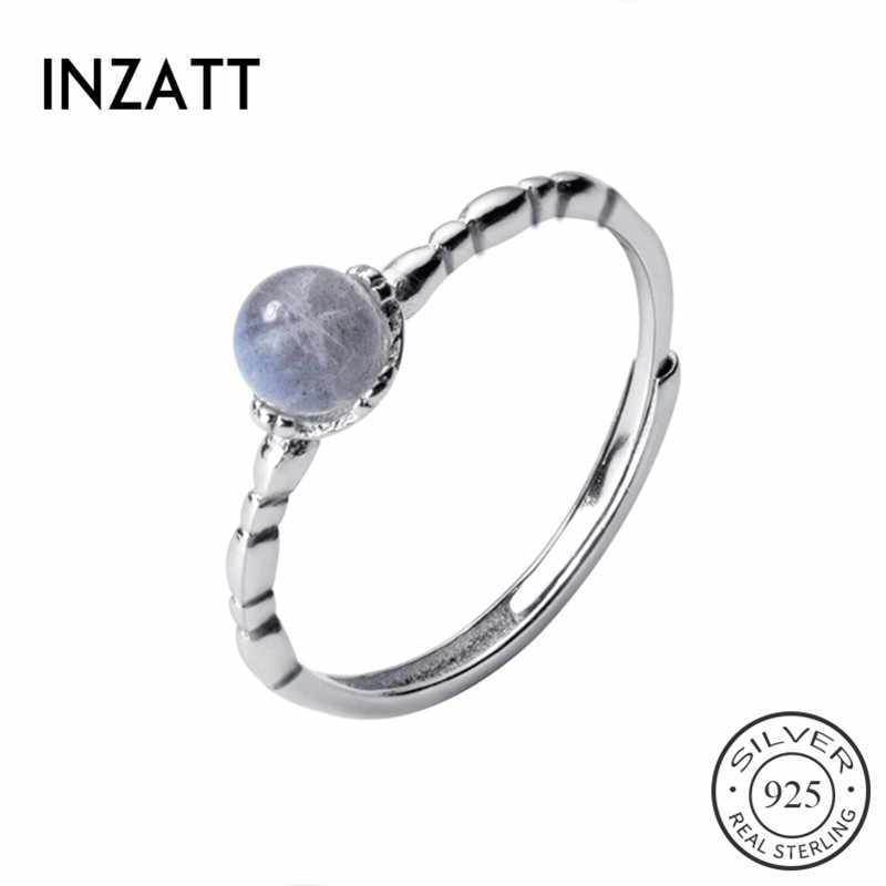 INZATT Real 925 Sterling Silver Minimalist Round Moonstone Adjustable Ring For Women Party Geometric Fine Jewelry 2019 Cute Gift