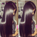 Free parte Natural Brown cabelo peruano virgem Long Hair reta de seda cheia do laço frente perucas nós branqueada para as mulheres negras