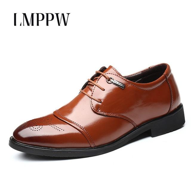 fb47f3eb 2019 nueva primavera otoño hombres Brogue zapatos de cuero boda zapatos  Oxford diseñador italiano hombres de