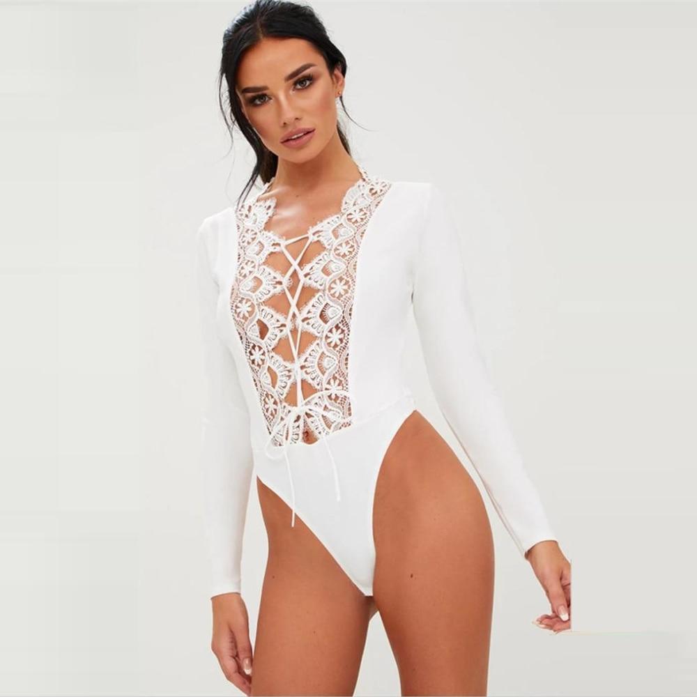 Glamaker White Lace Floral Splice Transparent Sexy Bodysuit Women Summer Lantern Sleeve Ruffles Bodysuit Spring Playsuit Rompers Women's Clothing