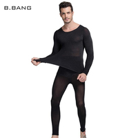 B BANG Hot Winter 37 Degree Men Thermal Underwear Set Ultrathin Heat Long Johns High Elastic