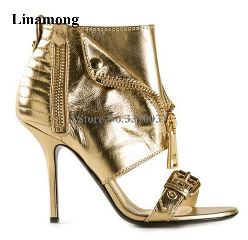 Women Sexy Design Open Toe Leather Gold Zipper Stiletto Heel Sandals Ankle Wrap Front Strap Buckle High Heel Sandals Dress Shoes fashion women s sandals with metal and stiletto heel design