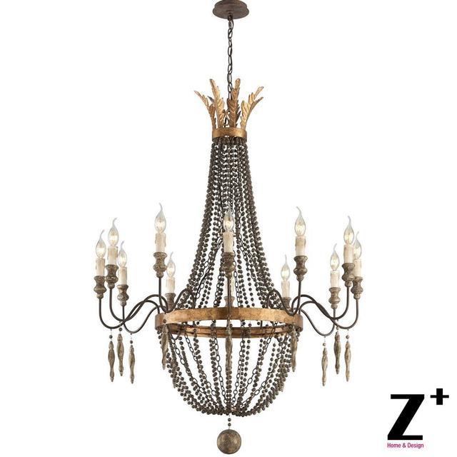 Replik Artikel Amerika Stil Delacroix Kerze Kronleuchter Licht 12 Lichter  Französisch Bronze Holzperle Kostenloser Versand