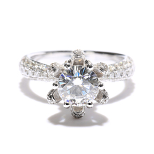 1 Carat ct New DEF Engagement Wedding Lab Grown Moissanite Diamond Ring With Real Diamond Accents 14K 585 White Gold