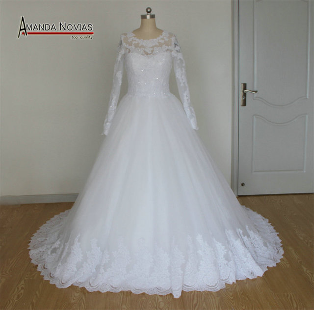 Beautiful New Model Puffy Skirt Long Sleeve Lace Appliques Wedding ...