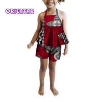 2 Pieces African Set for Kids Girls Summer Sleeveless Tops and Shorts Baby Girl African Wax Print Cloth Set Short Pants WYT320