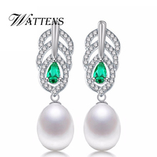 New Pearl drop earrings,Pearl Jewelry for Women Casual Style Jewelry ,Charm Bohemia 925 sterling silver long earrings for love(China)