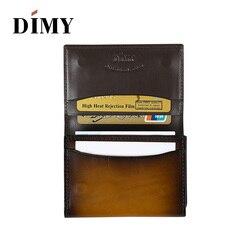 Dimy Bag accesorios para hombre, monedero de tarjeta de negocios, soporte de cuero genuino de vaca para hombre, billeteras Vintage con letras