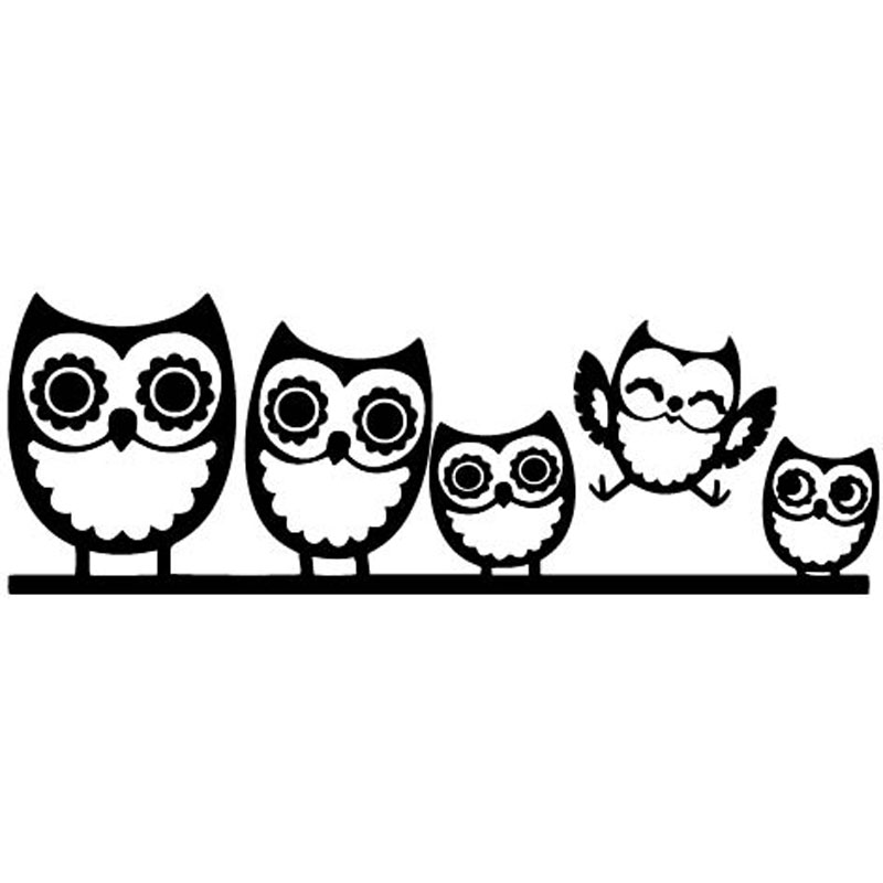 18cm new arrival car stickers cute owl family happy funny