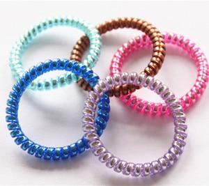 5cm Elastic Hair Bands Fashion Telephone Line Hair Rope Color Telephone Line Hair Ring Hair Accessories Lots 5pcs/lot