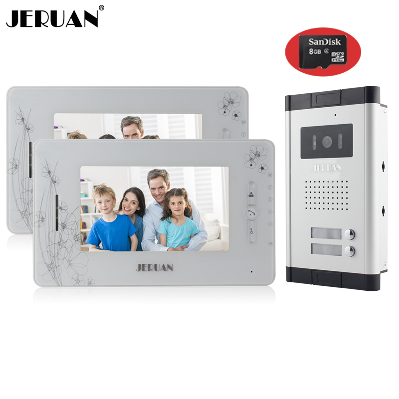 JERUAN Brand New Apartment Intercom 7`` LCD Video Door Phone Doorbell intercom System for 2 house 1V2+8GB card+free shipping new apartment doorbell intercom 7 lcd touch key video door phone intercom system 1camera 10 monitors for 10 house free shipping