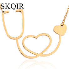 Gold Stethoscope Heart Necklaces Pendants For